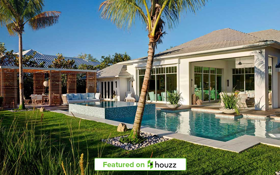 "Relaxing Naples, Florida home backyard featured on Houzz designed by Kukk Architecture and Design, P.A | Blog: Kukk Architecture Featured on Houzz for ""Patio of the Week: Breezy Lakeside Terrace in Florida"""
