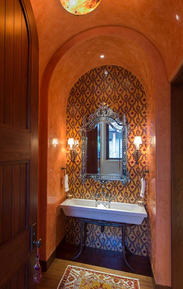 Arched vanity in a Naples Florida, luxury home. Designed by Kukk Architecture & Design Naples.