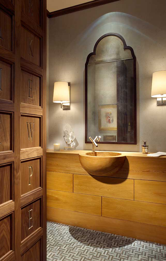 Large wood bathroom vanity in a Naples Florida, single family home. Designed by Kukk Architecture & Design Naples.