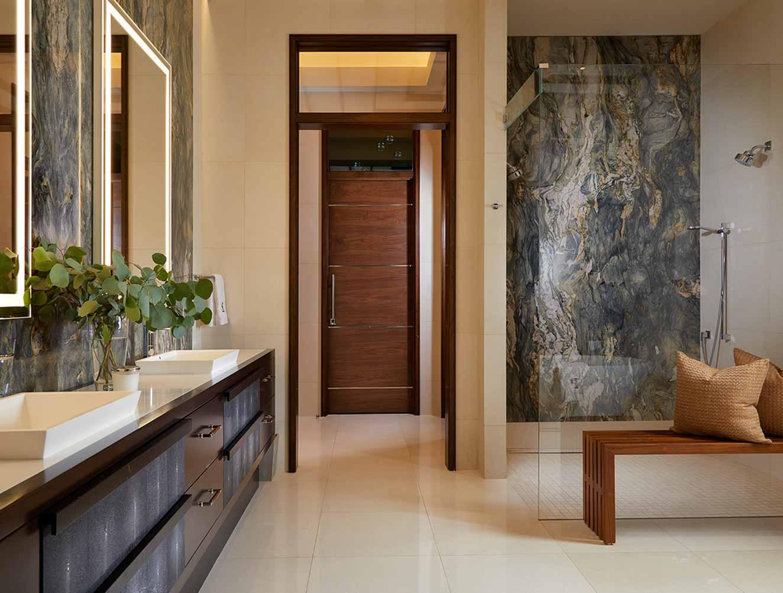 Minimalist master bathroom in a Naples Florida, single family home. Designed by Kukk Architecture & Design Naples.