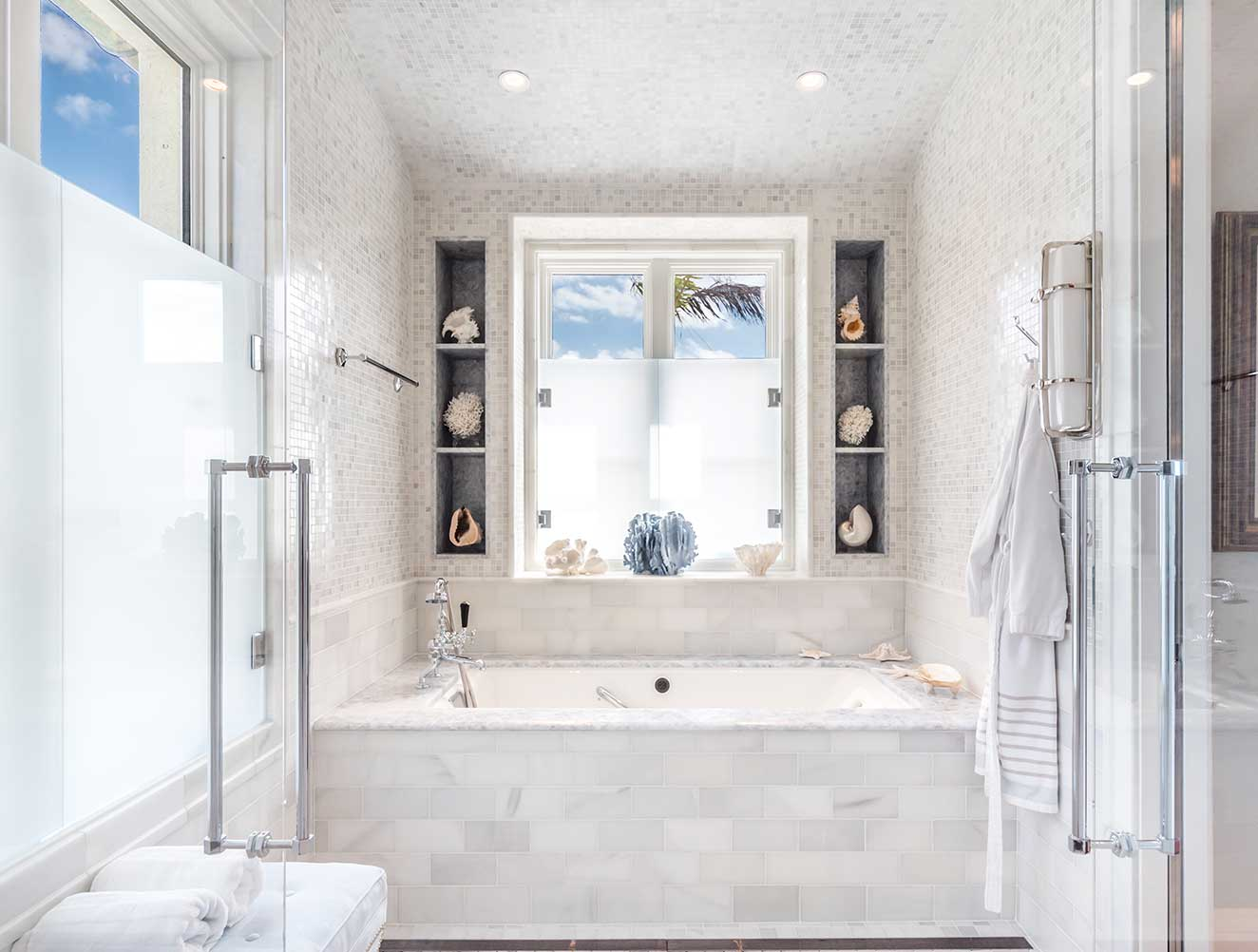 Nautical master bathroom in a Naples Florida, single family home. Designed by Kukk Architecture & Design Naples.