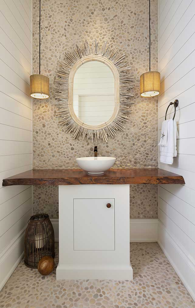 Bathroom with styled vanity in a Naples Florida, single family home. Designed by Kukk Architecture & Design Naples.