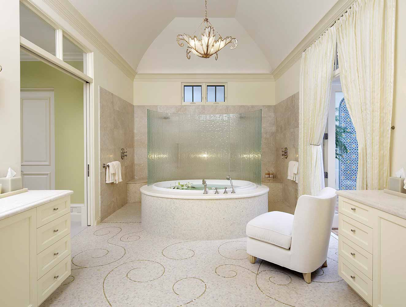 Walk-through shower in master bathroom in a Naples Florida, single family home. Designed by Kukk Architecture & Design Naples.