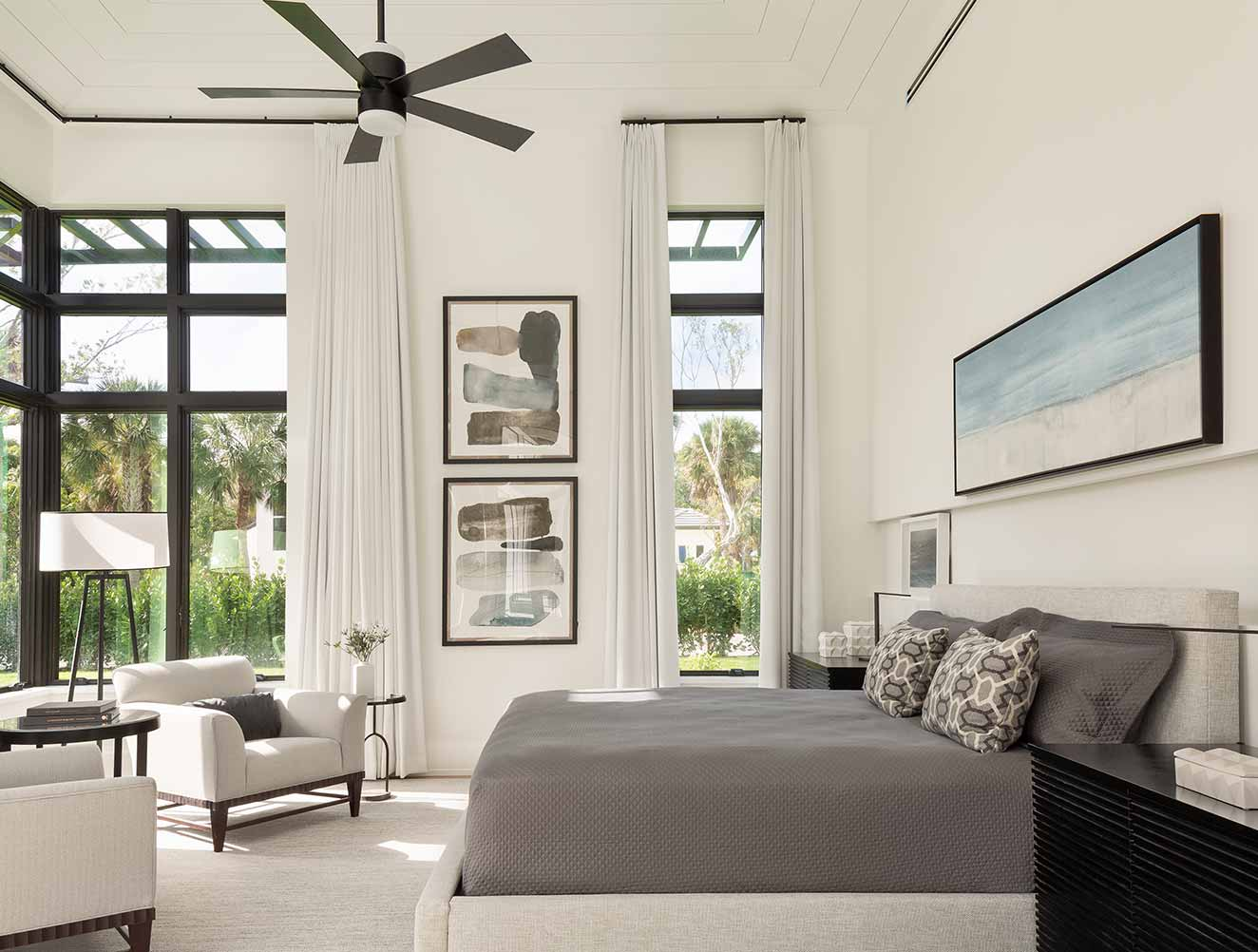 Monochromatic master bedroom in a Naples Florida, single family home. Designed by Kukk Architecture & Design Naples.