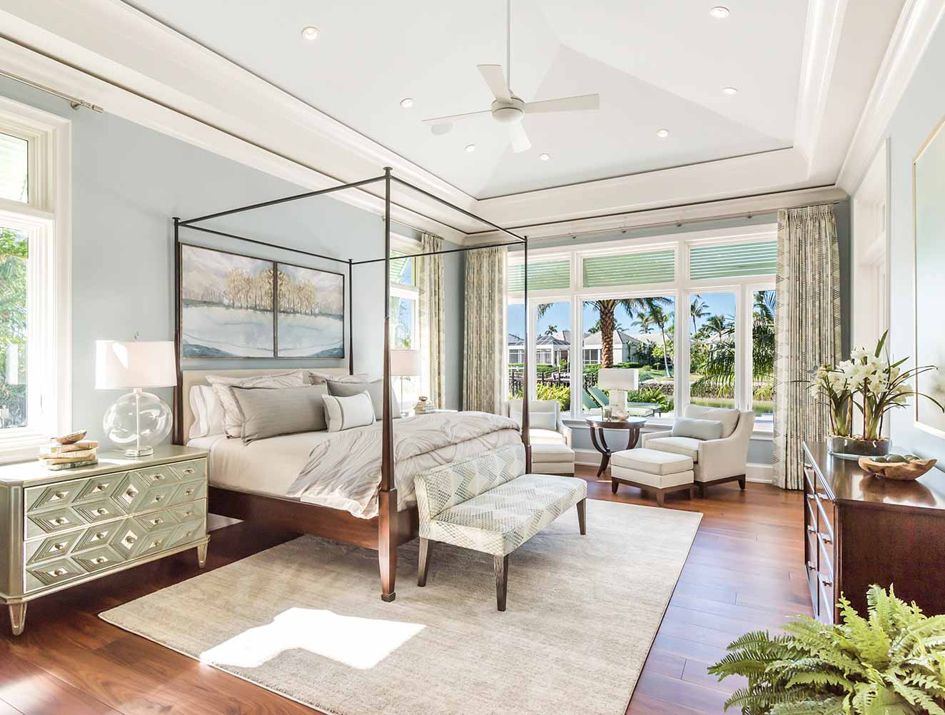 Traditional master bedroom in a Naples Florida, single family home. Designed by Kukk Architecture & Design Naples.