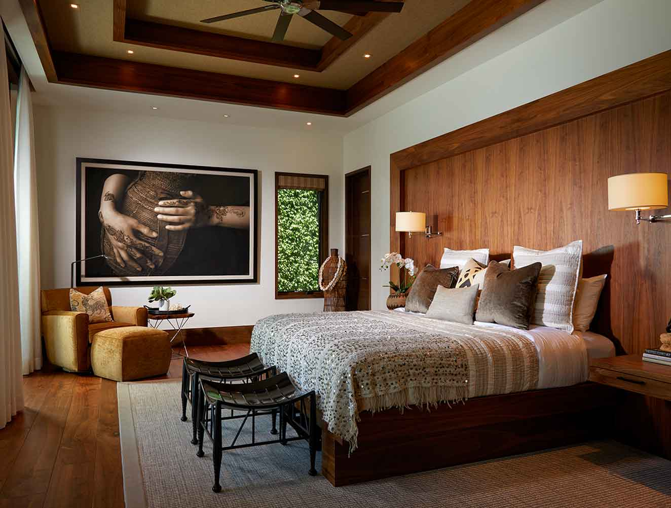 Wood detailed master bedroom in a Naples Florida, single family home. Designed by Kukk Architecture & Design Naples.