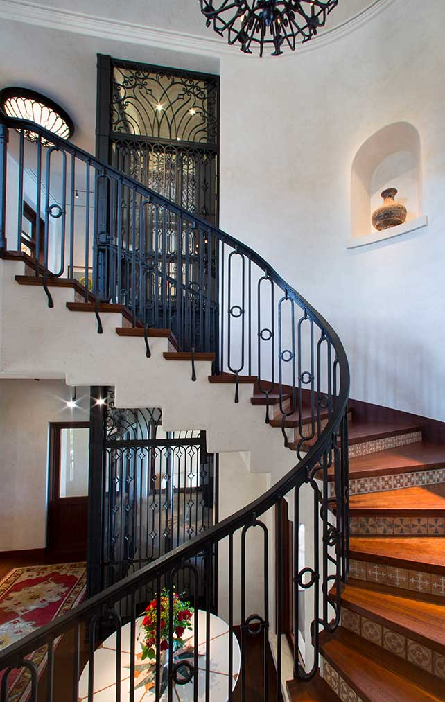 Wrap Around Stair Case at The Gordon Estate Florida Home Designed by Kukk Architecture and Design, P.A. | Architectural Firm Naples