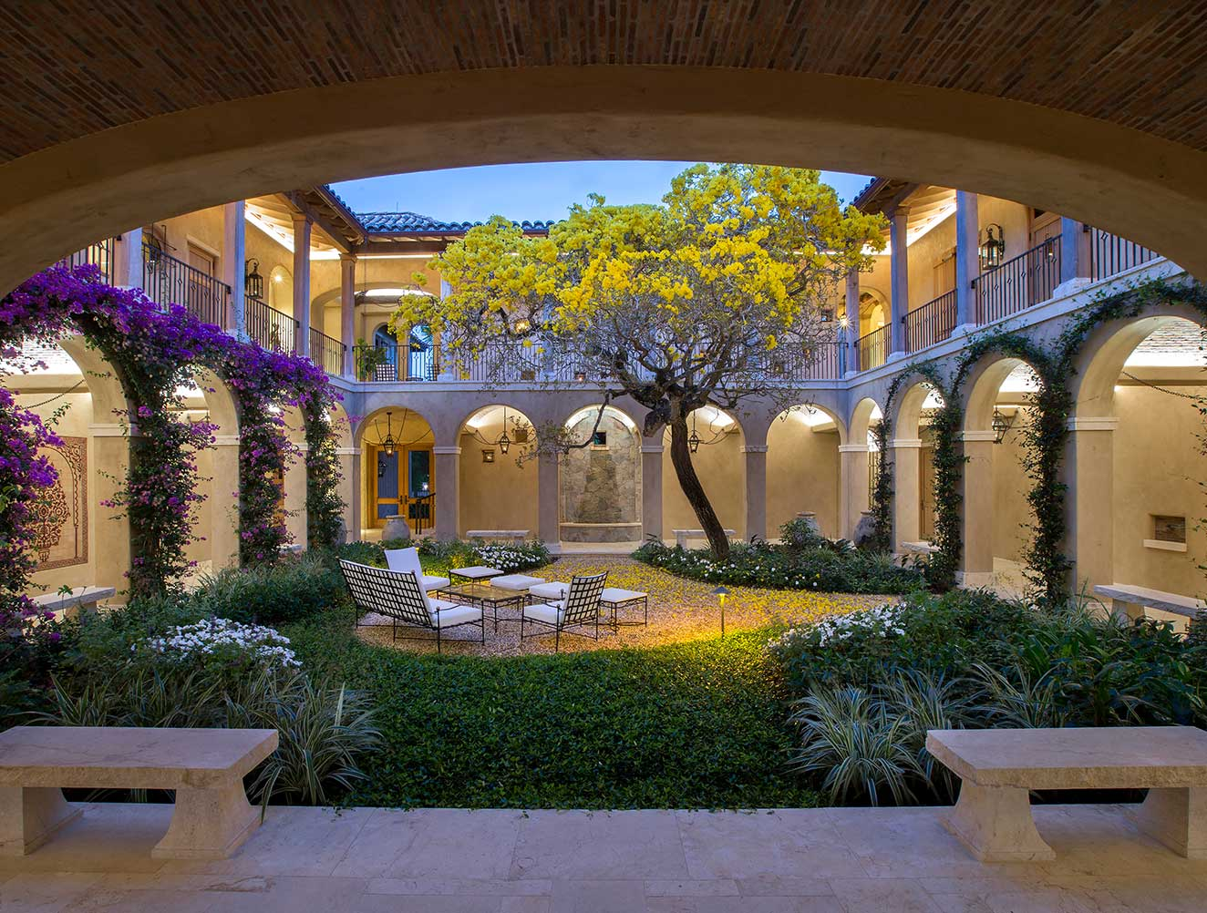 Interior Courtyard at The Gordon Estate Florida Home Designed by Kukk Architecture and Design, P.A. | Architectural Firm Naples