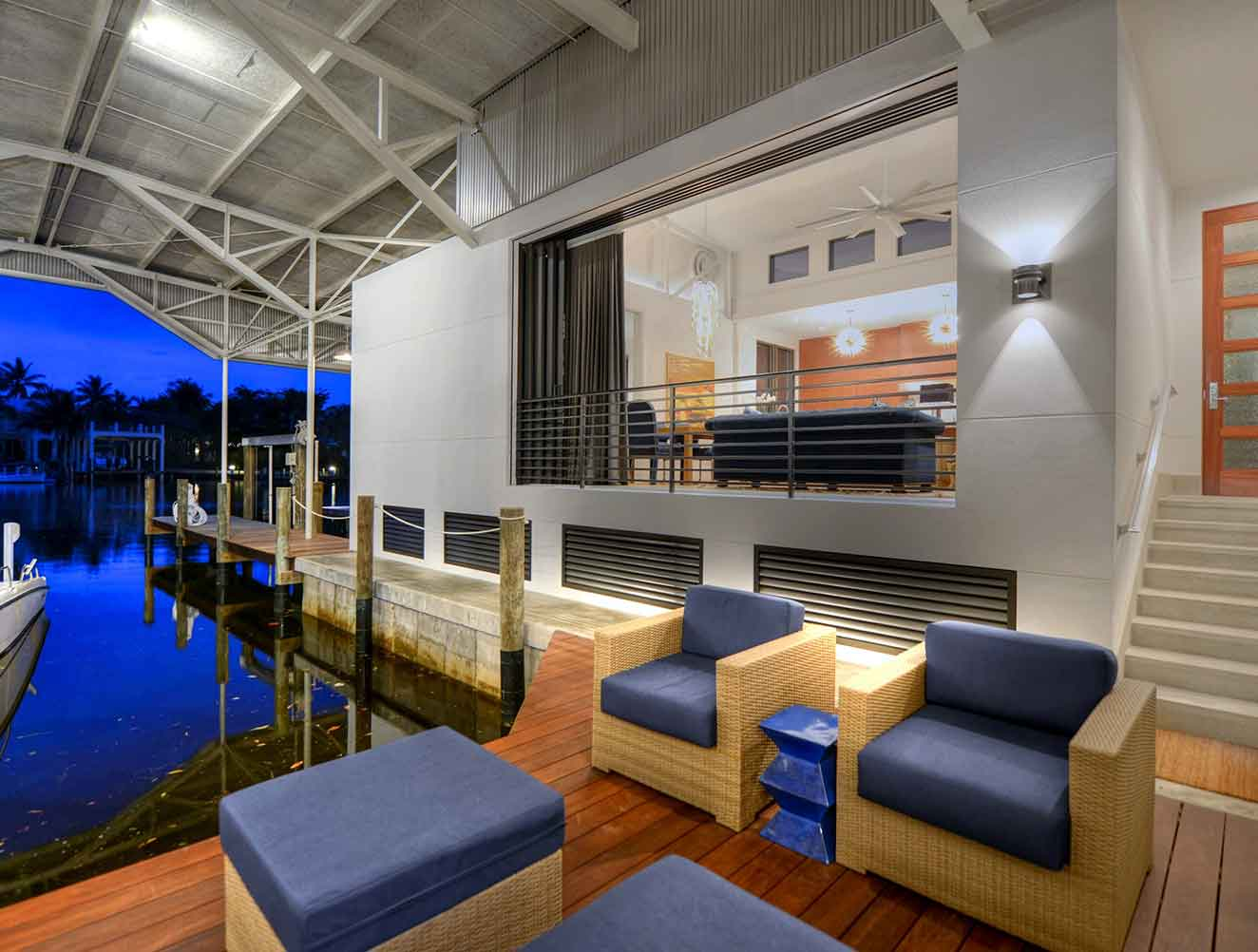 Dock Entry at the Boat House Residence in Naples Florida, single family home designed by Kukk Architecture & Design Naples Architecture Firm