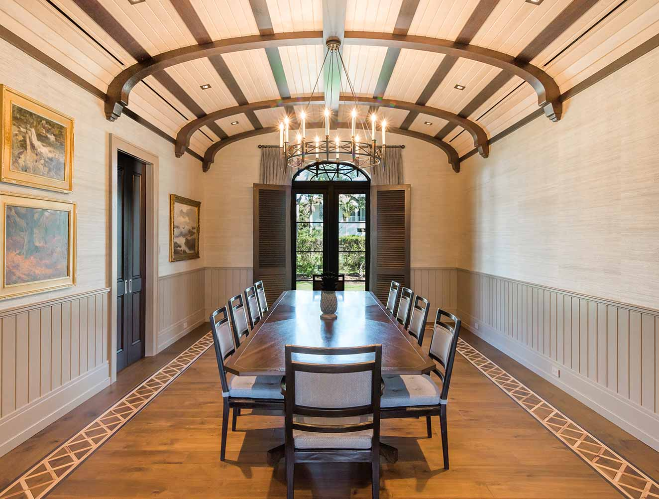 Formal Dining Room Ceiling Design Collection in Naples Florida homes. Designed by Kukk Architecture & Design Naples.