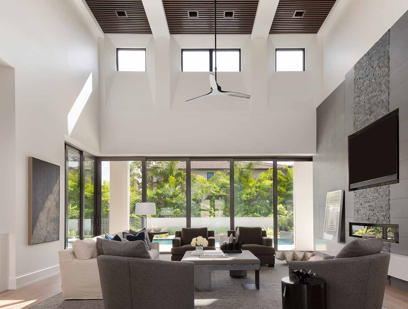 Tall Room Ceiling Design Collection in Naples Florida homes. Designed by Kukk Architecture & Design Naples.
