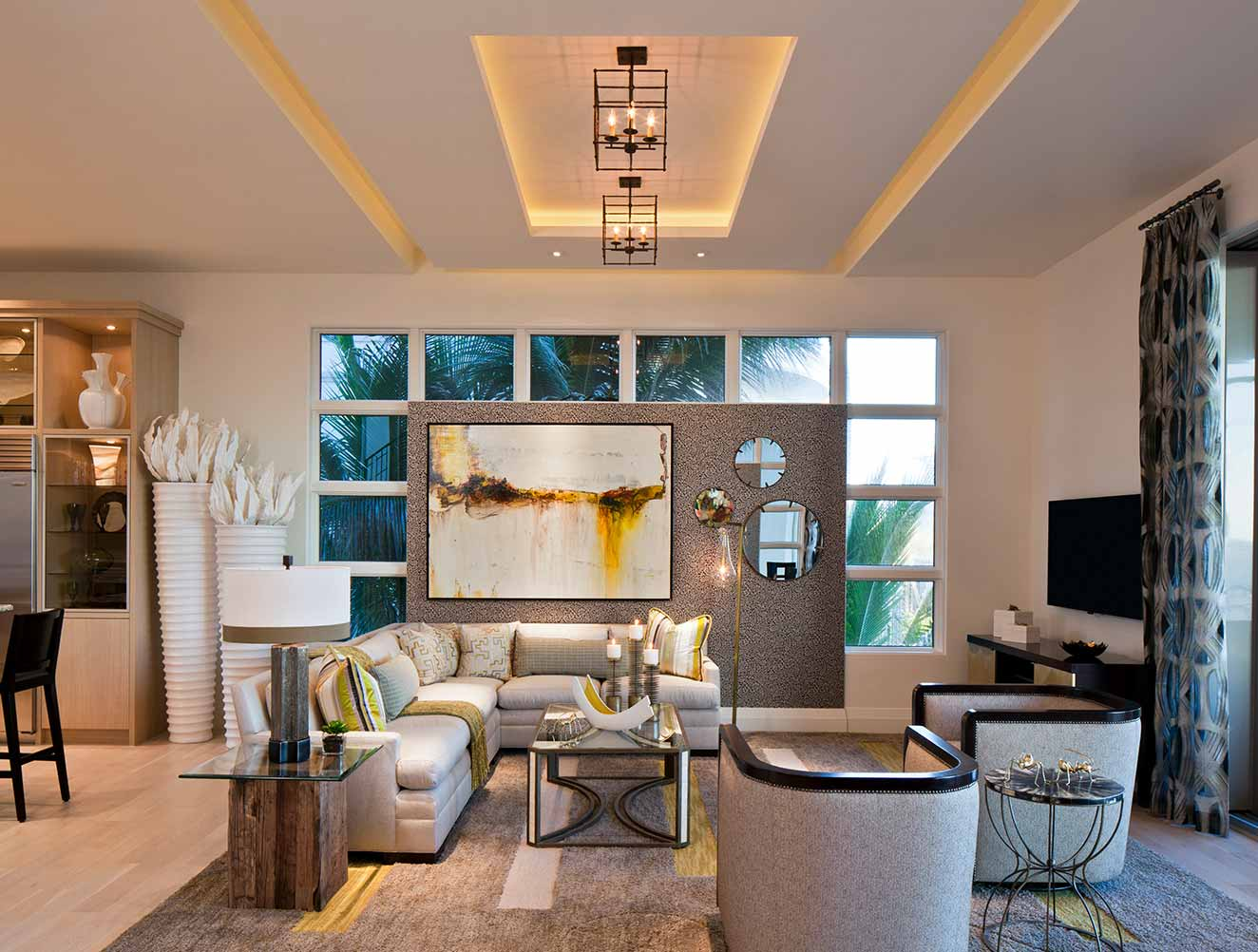Family Room Ceiling Design Collection in Naples Florida homes. Designed by Kukk Architecture & Design Naples.