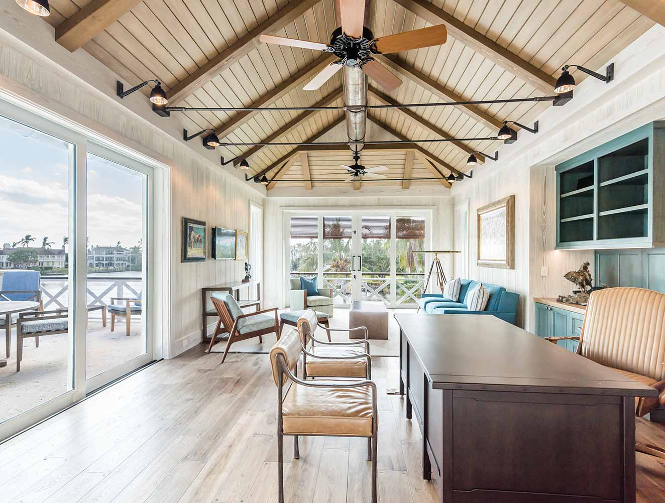 Rustic Modern Ceiling Design Collection in Naples Florida homes. Designed by Kukk Architecture & Design Naples.