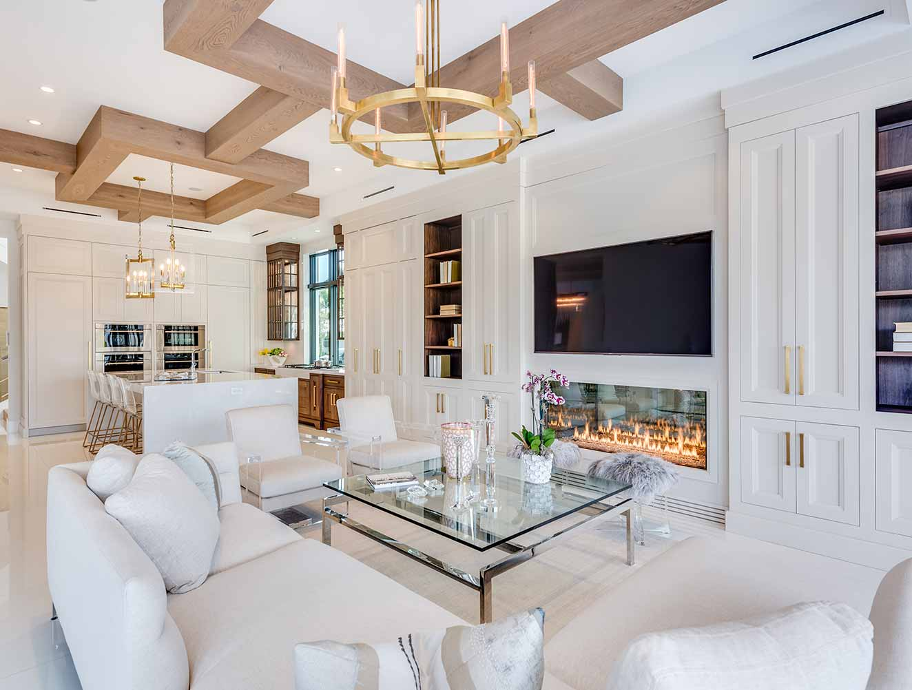 Wood & White Modern Ceiling Design Collection in Naples Florida homes. Designed by Kukk Architecture & Design Naples.