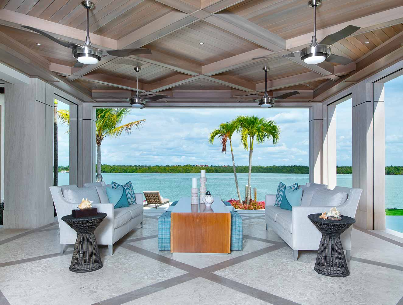 Outdoor Modern Ceiling Design Collection in Naples Florida homes. Designed by Kukk Architecture & Design Naples.