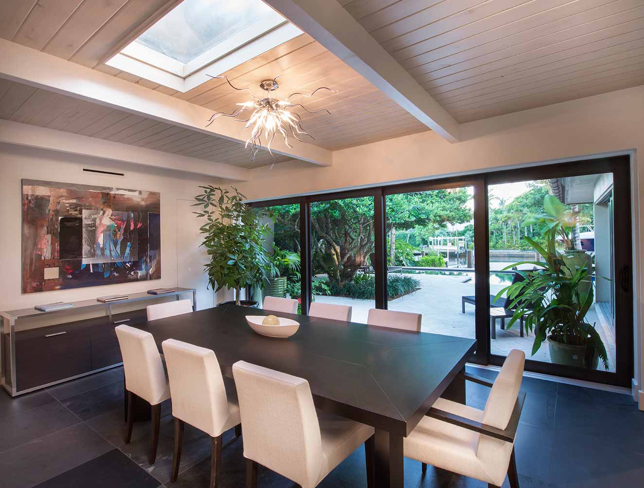 Dining Room at 21st Ave Residence in Naples Florida, single family home designed by Kukk Architecture & Design Naples Architecture Firm