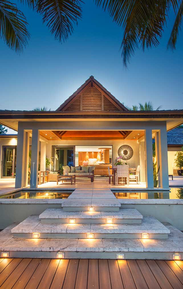 Lighted Outdoor Seating Space at 21st Ave Residence in Naples Florida, single family home designed by Kukk Architecture & Design Naples Architecture Firm
