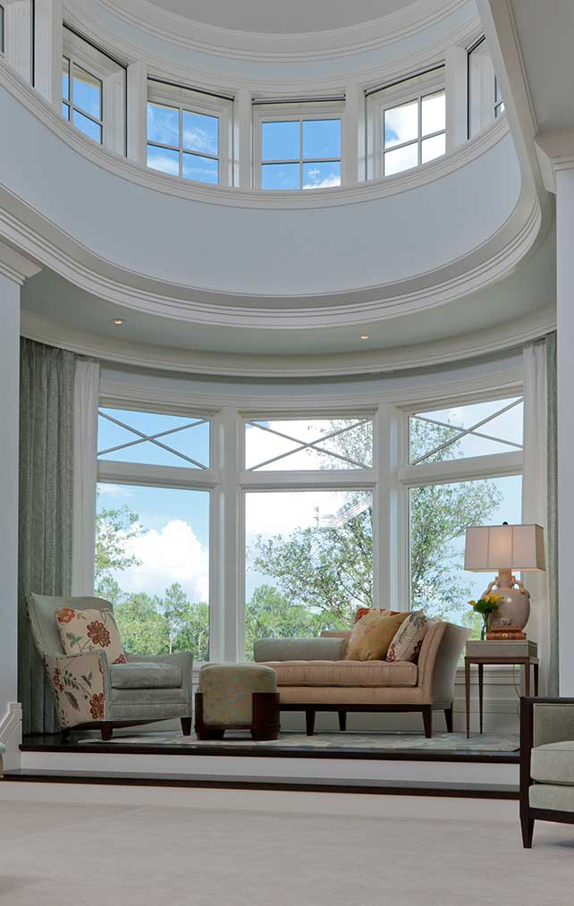 Rounded Window Seating at Escada Estate in Naples Florida, single family home designed by Kukk Architecture & Design Naples Architecture Firm