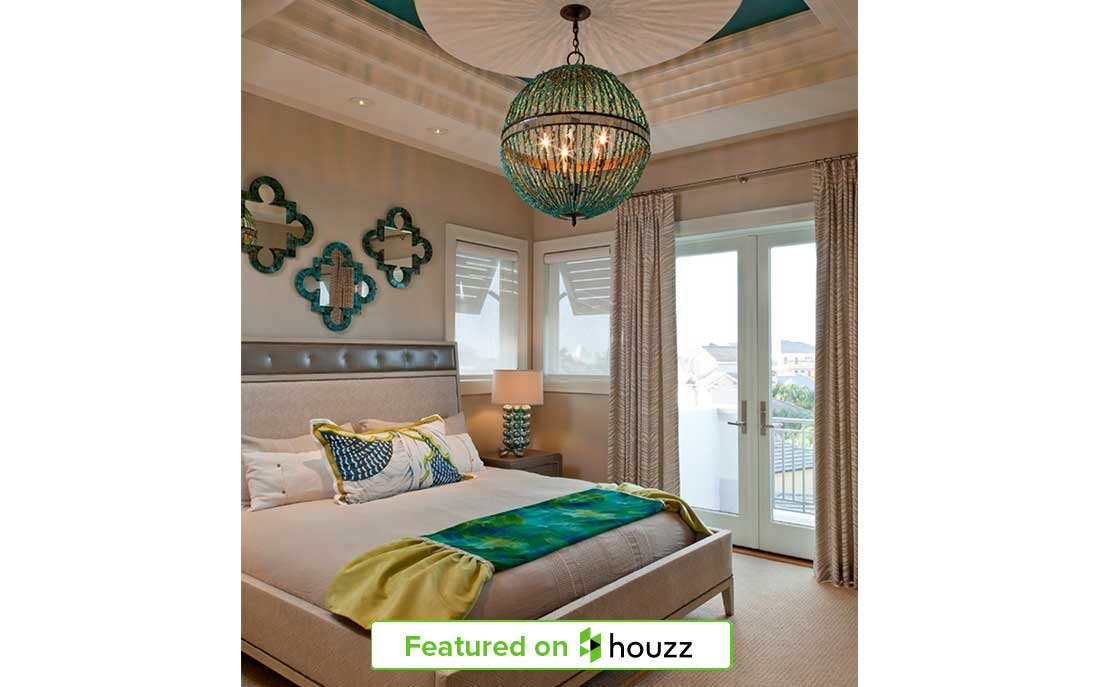 "Turquoise bedroom featured on Houzz from Kukk Architecture & Design, P.A. 104 Dominica Project | Blog: Kukk Architecture Featured on Houzz ""Warm Up Your Home With These 6 Tropical Colors"""