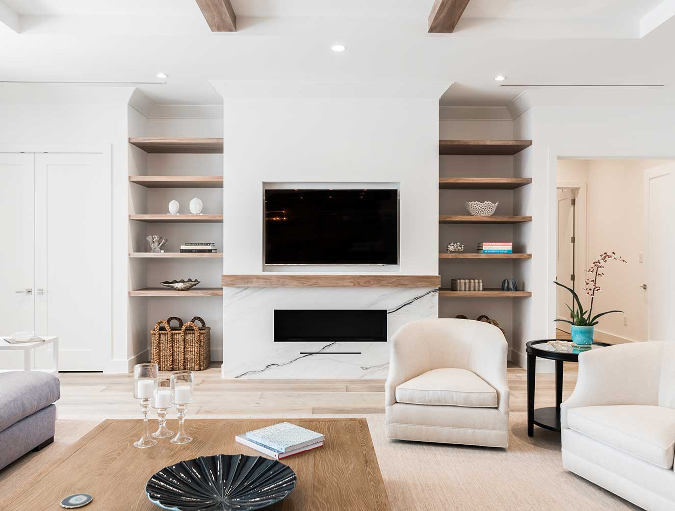 Living Room with Custom Built-ins at 10th Ave S. Residence in Naples Florida, single family home designed by Kukk Architecture & Design Naples Architecture Firm