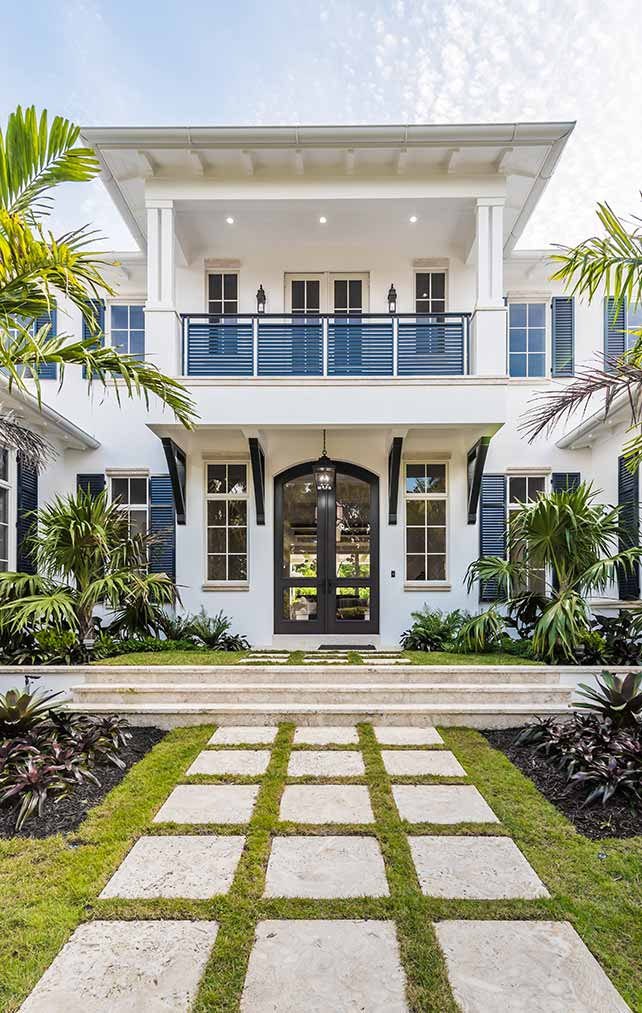 Residence Entrance at 10th Ave S. Residence in Naples Florida, single family home designed by Kukk Architecture & Design Naples Architecture Firm