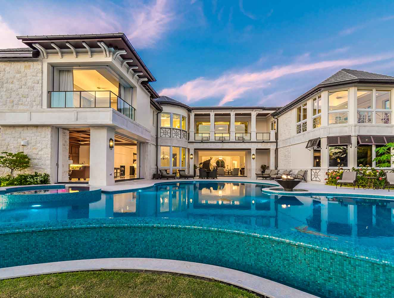 Infinity Pool and Exterior Architectural Details at Nelson's Walk Residence in Naples Florida, single family home designed by Kukk Architecture & Design Naples Architecture Firm