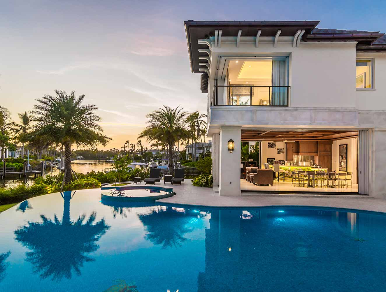 Outdoor Entertaining & Pool at Nelson's Walk Residence in Naples Florida, single family home designed by Kukk Architecture & Design Naples Architecture Firm