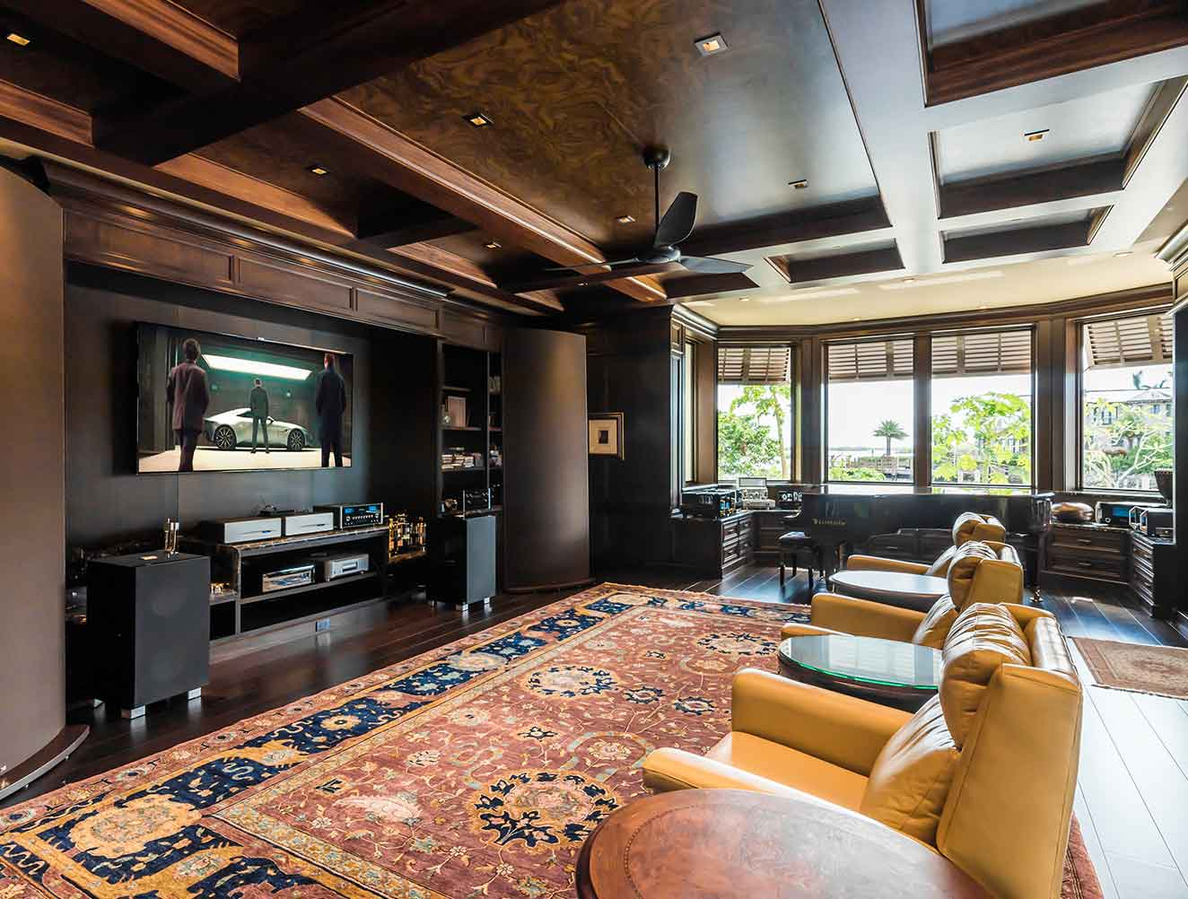 Movie Room at Nelson's Walk Residence in Naples Florida, single family home designed by Kukk Architecture & Design Naples Architecture Firm