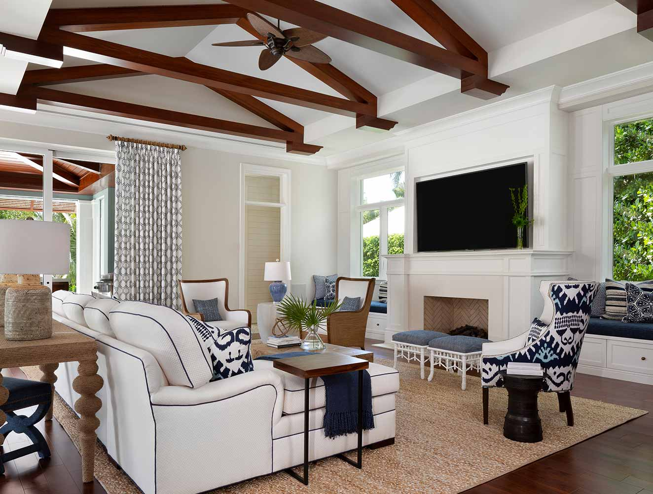 Family Room at West Indies Residence in Naples Florida, single family home designed by Kukk Architecture & Design Naples Architecture Firm