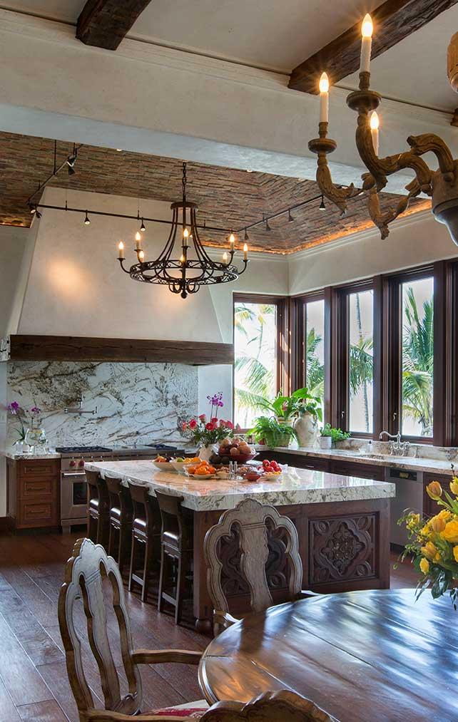 Hand carved kitchen island. Kitchen Galleries Architectural Design Portfolio. Designed by Kukk Architecture & Design Naples.