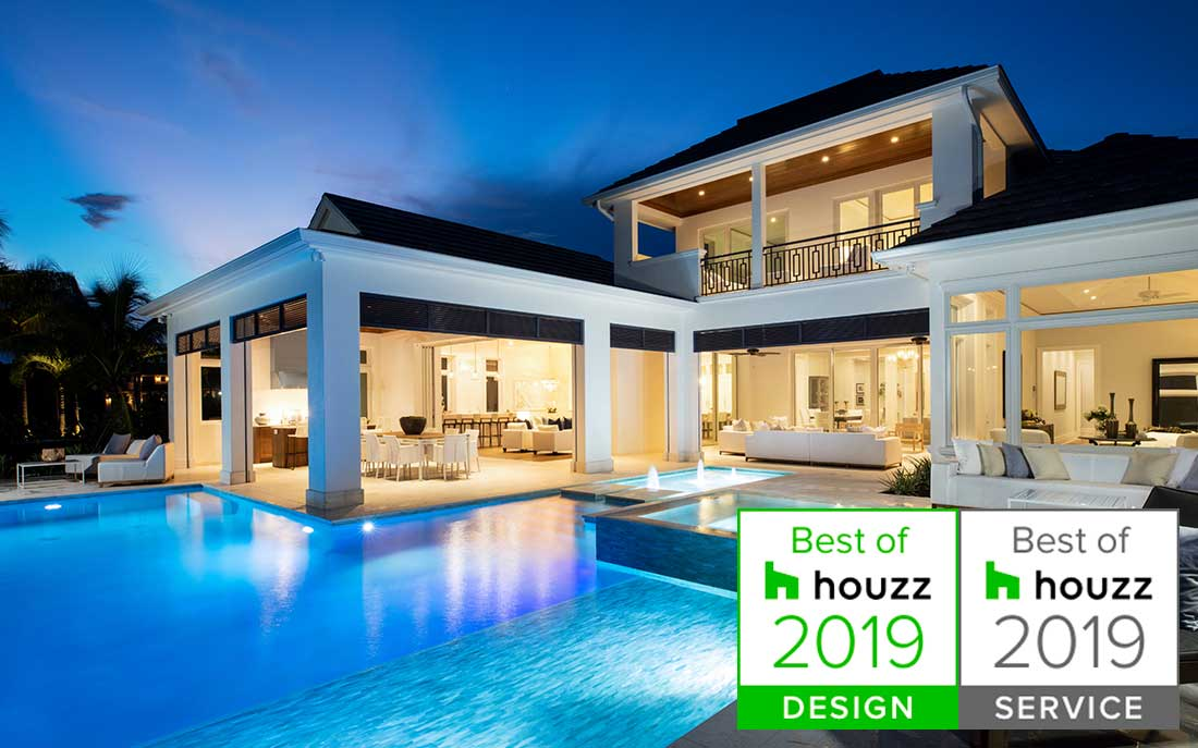 Luxury Florida home with large pool designed by Kukk Architecture & Design, P.A. Best of Houzz Winners 2018 | Blog: KAD Wins Houzz Awards!