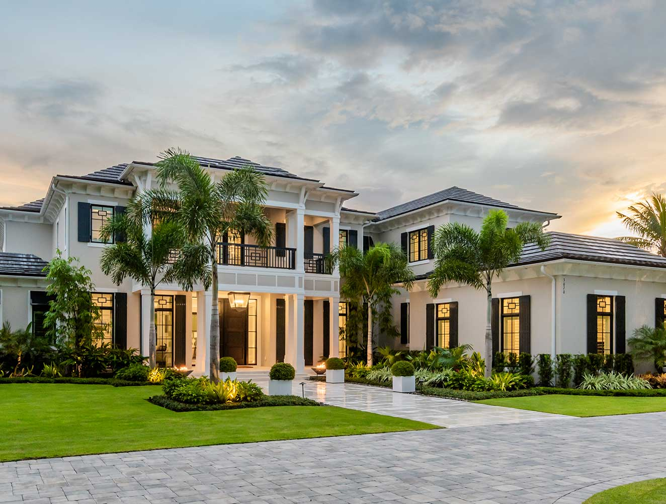 Exterior of Fort Charles Estate in Naples Florida, single family home designed by Kukk Architecture & Design Naples Architecture Firm
