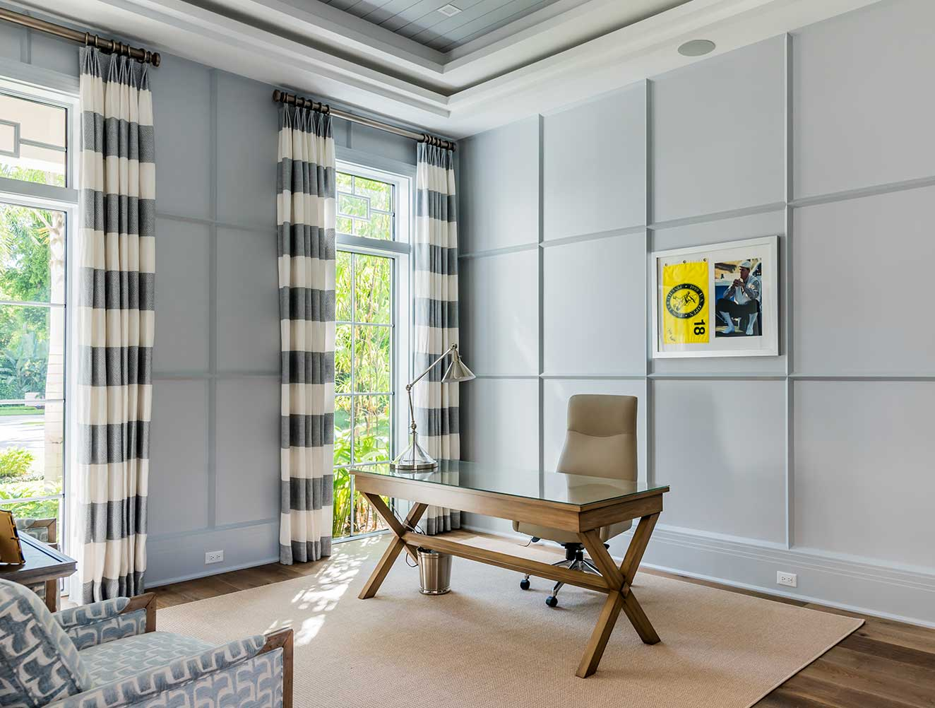 Home office of Fort Charles Estate in Naples Florida, single family home designed by Kukk Architecture & Design Naples Architecture Firm
