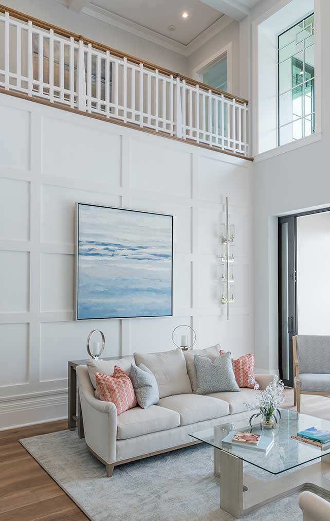 Architectural details of Living Room in the Fort Charles Estate in Naples Florida, single family home designed by Kukk Architecture & Design Naples Architecture Firm