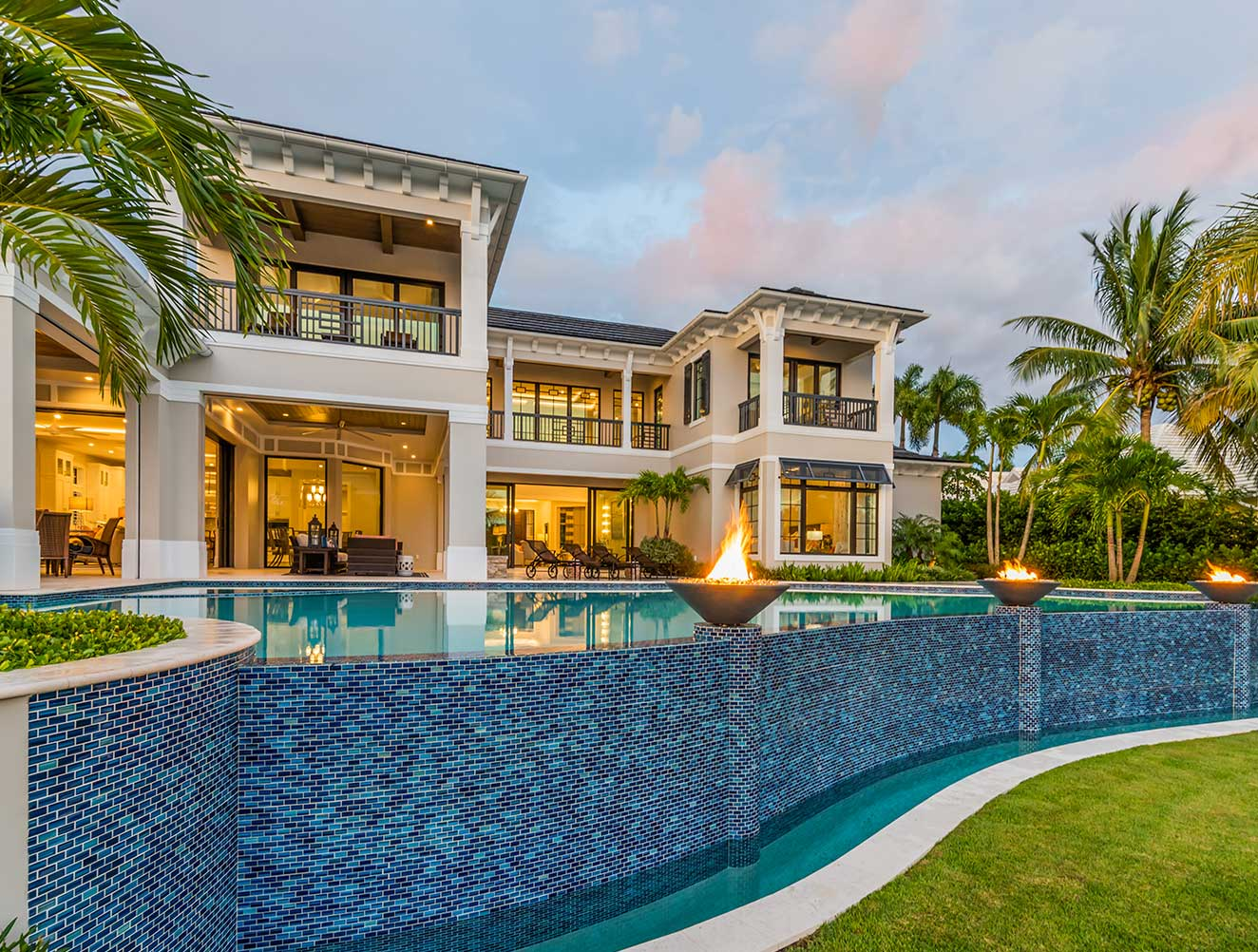 Infinity pool details of Fort Charles Estate in Naples Florida, single family home designed by Kukk Architecture & Design Naples Architecture Firm