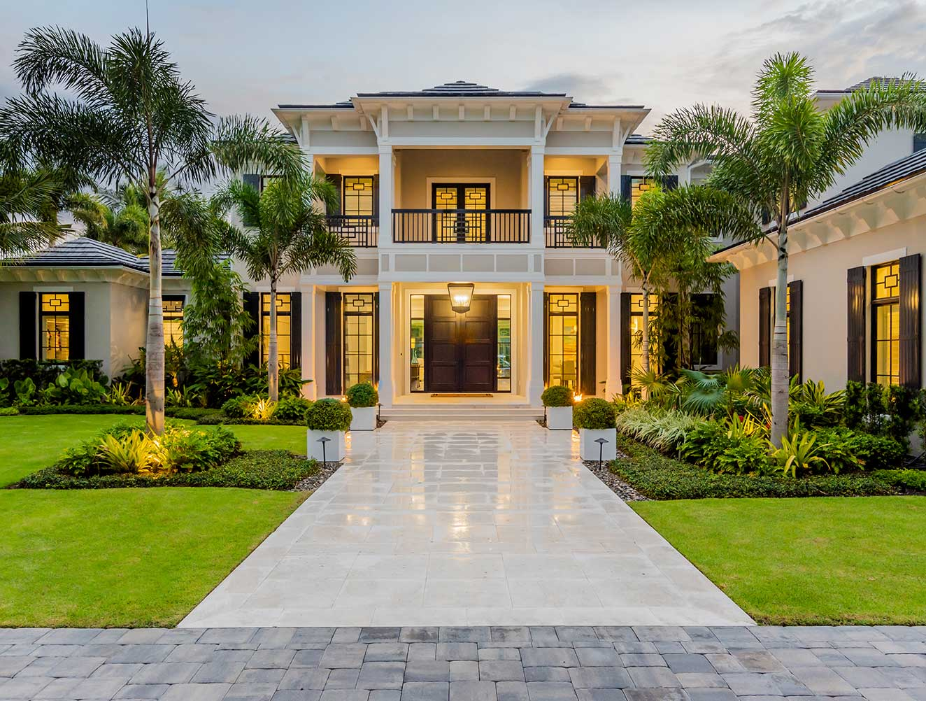 Entrance of Fort Charles Estate in Naples Florida, single family home designed by Kukk Architecture & Design Naples Architecture Firm