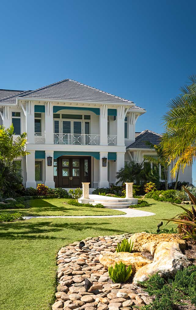 Exterior Entrance and Driveway at Caxambas Residence in Naples Florida, single family home designed by Kukk Architecture & Design Naples Architecture Firm