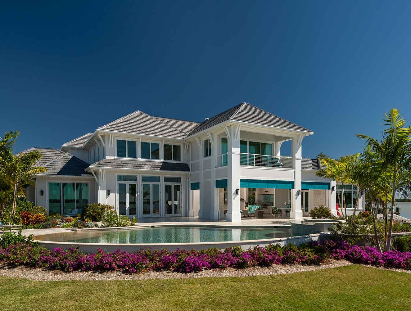 Exterior Pool and Architectural Flourishes at Caxambas Residence in Naples Florida, single family home designed by Kukk Architecture & Design Naples Architecture Firm