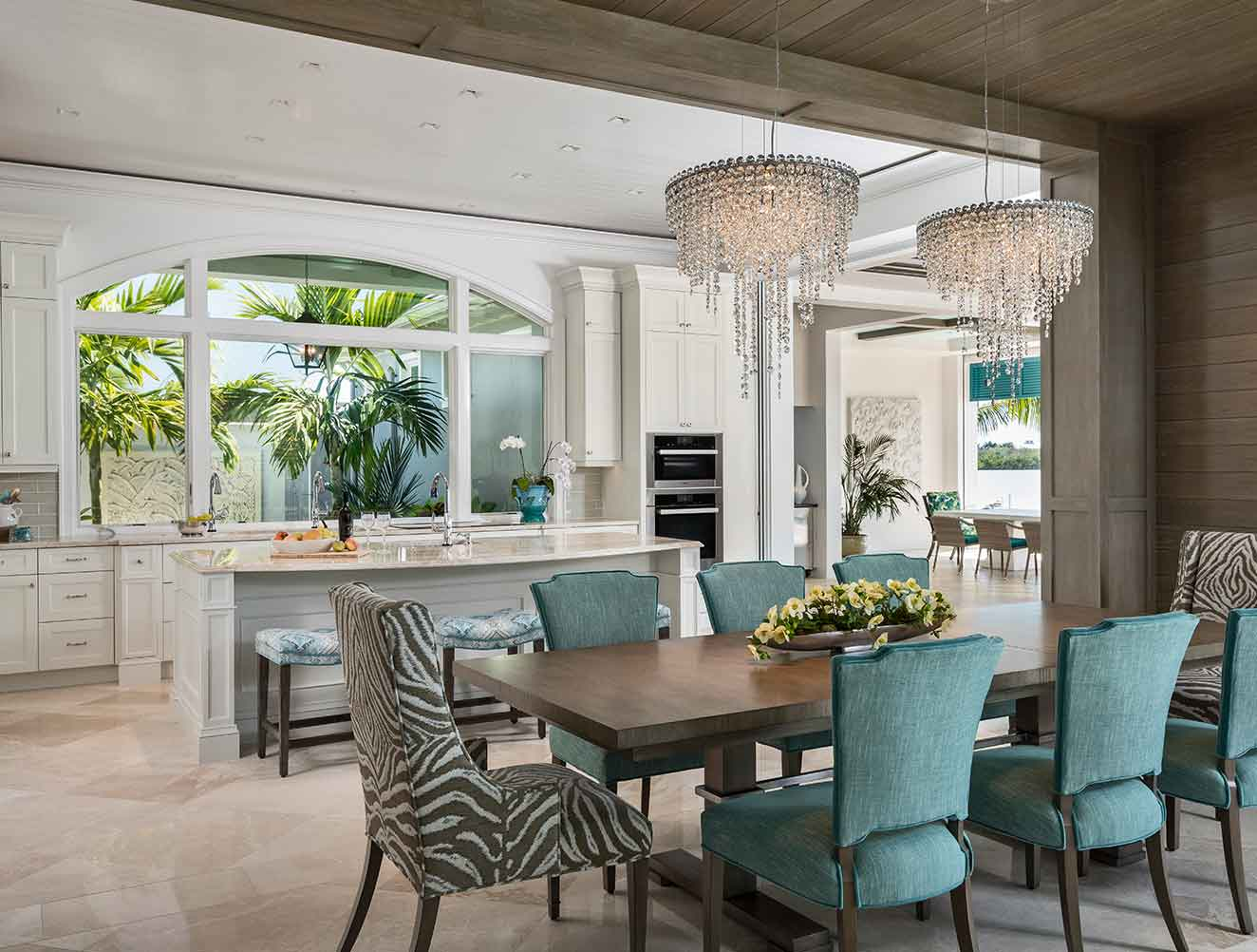 Kitchen & Dining Rooms at Caxambas Residence in Naples Florida, single family home designed by Kukk Architecture & Design Naples Architecture Firm
