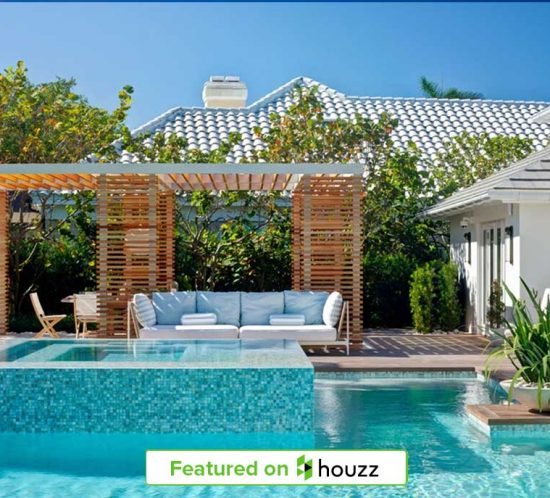 """Naples Florida pool side Pergola designed by Kukk Architecture & Design, P.A. featured in Houzz 