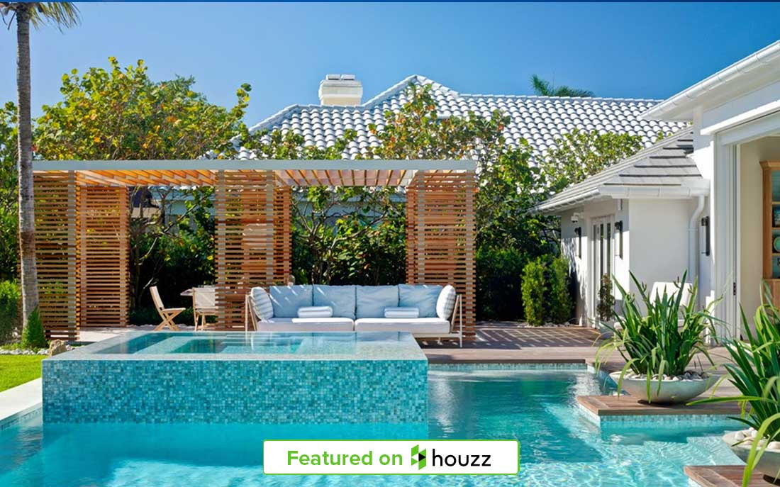 "Naples Florida pool side Pergola designed by Kukk Architecture & Design, P.A. featured in Houzz | Blog: Kukk Architecture Featured on Houzz for ""Cool Off With These 10 Dreamy Poolside Pergolas"""