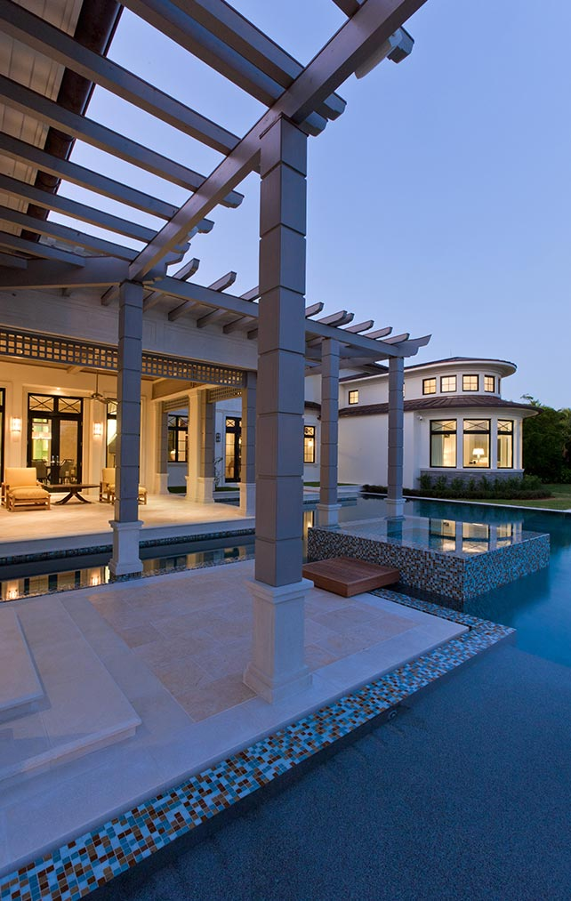 Portfolio of Pools in Naples, Florida Luxury Homes. Pool with elevated spa. Designed by Kukk Architecture & Design Naples