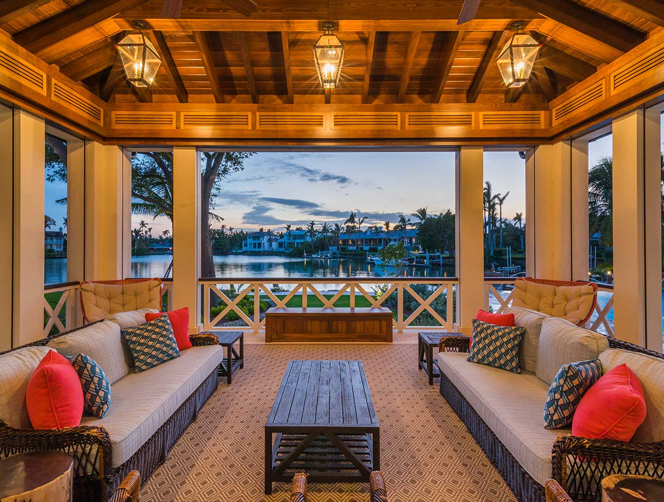 Waterfront Outdoor Seating Area of Cutlass Estate in Naples Florida, single family home designed by Kukk Architecture & Design Naples Architecture Firm