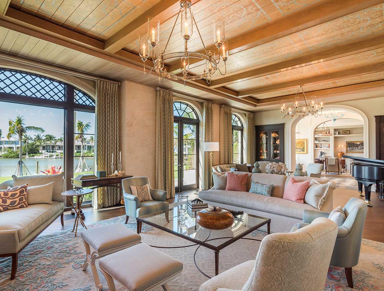 Family Room of Cutlass Estate in Naples Florida, single family home designed by Kukk Architecture & Design Naples Architecture Firm