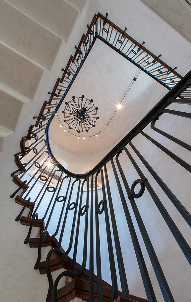 Portfolio of Custom Staircase Design in Naples, Florida Luxury Homes. Wrought Iron Staircase. Designed by Kukk Architecture & Design Naples