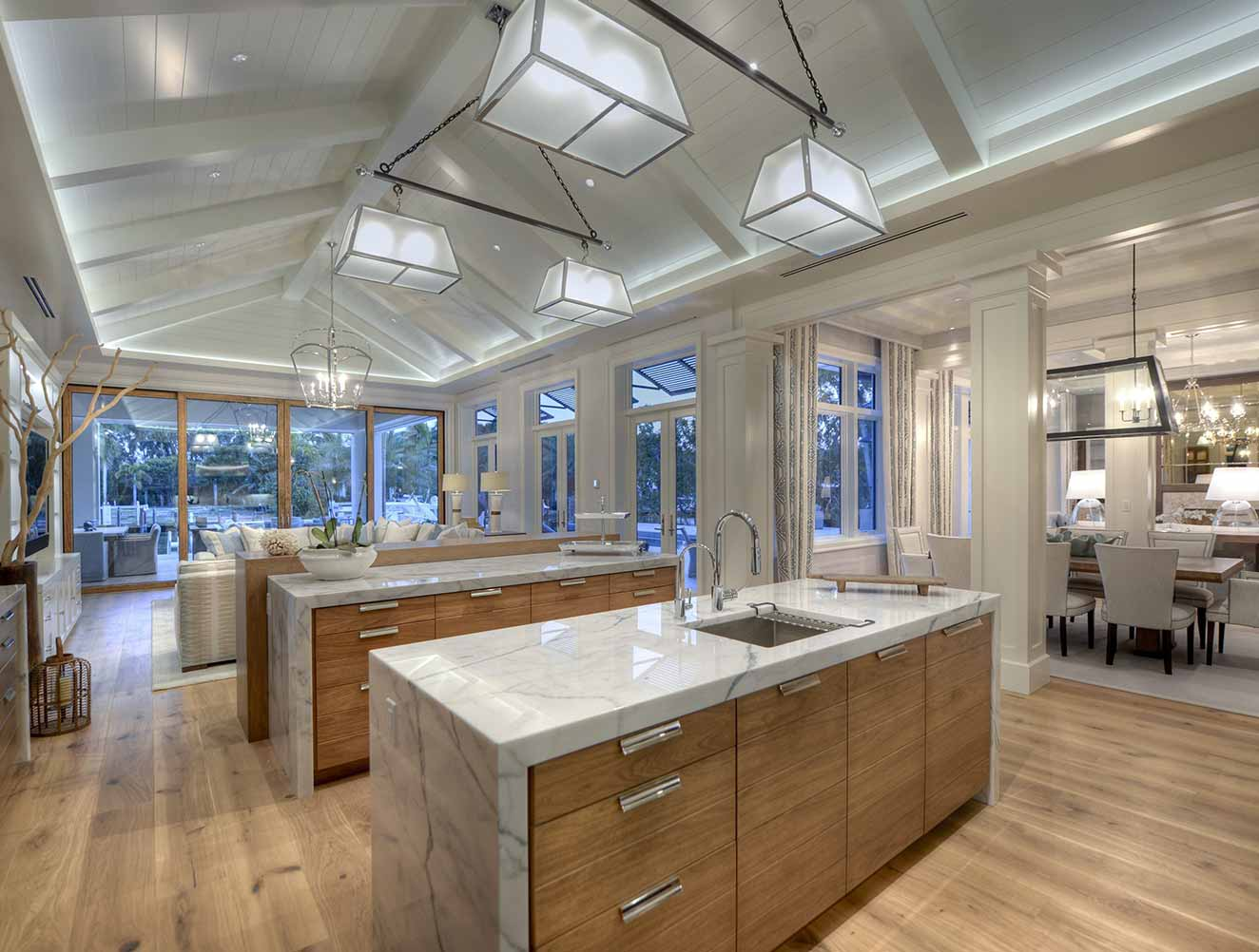 Kitchen and Dining Room at Little Harbour Residence in Naples Florida, single family home designed by Kukk Architecture & Design Naples Architecture Firm