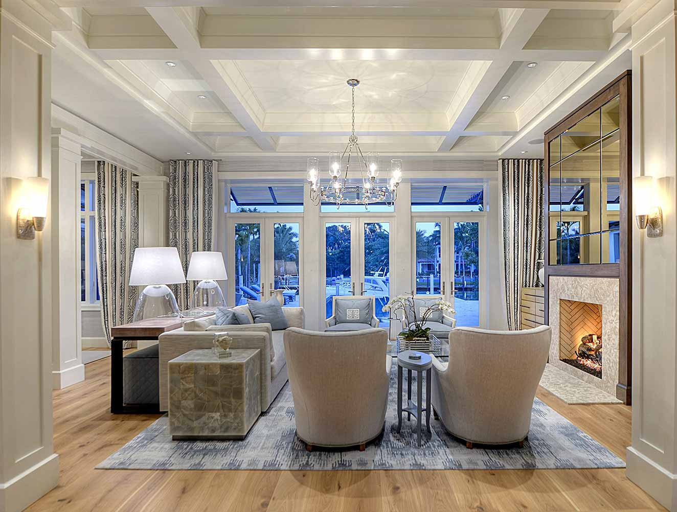 Living Room at Little Harbour Residence in Naples Florida, single family home designed by Kukk Architecture & Design Naples Architecture Firm