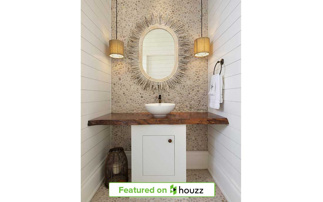 "Wood vanity in Naples Florida home powder room designed by Kukk Architecture & Design, P.A. | Blog: Kukk Architecture Featured on Houzz for ""Trending Now: Wood Vanities Star in Popular Powder Rooms!"""
