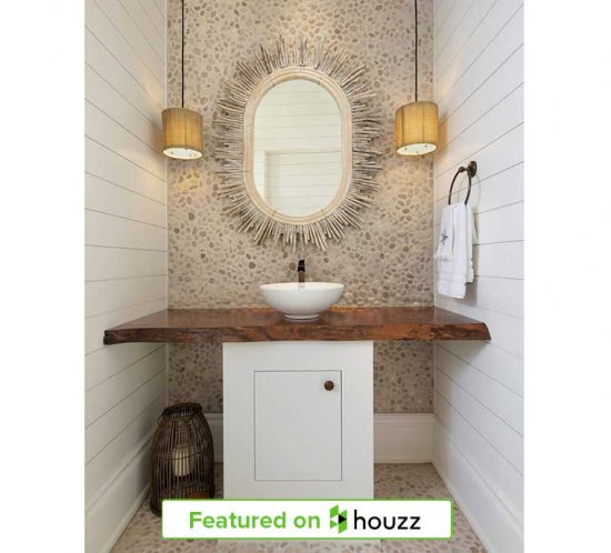"""Wood vanity in Naples Florida home powder room designed by Kukk Architecture & Design, P.A. 