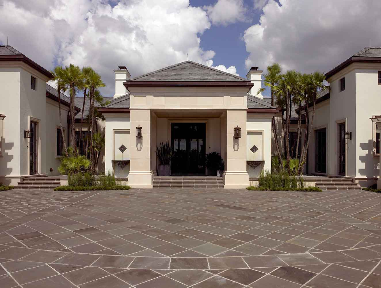 Exterior Entryway of Kings Town Estate in Naples Florida, single family home designed by Kukk Architecture & Design Naples Architecture Firm